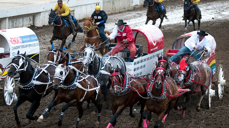 Driver Rae Croteau Jr., right, in white, guides his team around the second barrel during chuckwagon racing action at the Calgary Stampede in Calgary, Monday, July 12, 2010. (Jeff McIntosh / THE CANADIAN PRESS)