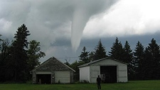 A tornado was sighted east of Carman late in the afternoon on July 13, 2010. (photo courtesy Anna Doell)