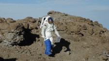Arctic crater, astronaut