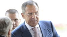 Sergey Lavrov arrives for a meeting of the Action Group for Syria in Geneva, Switzerland