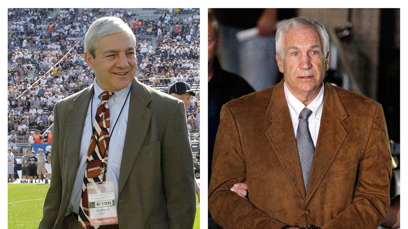 In this photo combo, at left, in an Oct. 8, 2011 file photo, Penn State president Graham Spanier walks on the field before an NCAA college football game in State College, Pa. At right, former Penn State University assistant football coach Jerry Sandusky leaves the Centre County Courthouse in custody after being found guilty of multiple charges of child sexual abuse in Bellefonte, Pa., on Friday, June 22, 2012. (AP /Gene J. Puskar)