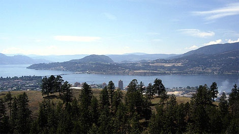 Okanagan Lake, between Kelowna and Westbank, is seen in a Wikipedia image.