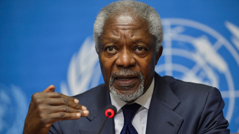 Kofi Annan, Joint Special Envoy of the United Nations and the Arab League for Syria speaks during a news conference at the United Nations' Headquarters in Geneva, Switzerland, Saturday, June 30, 2012. (AP / Martial Trezzini, Keystone)