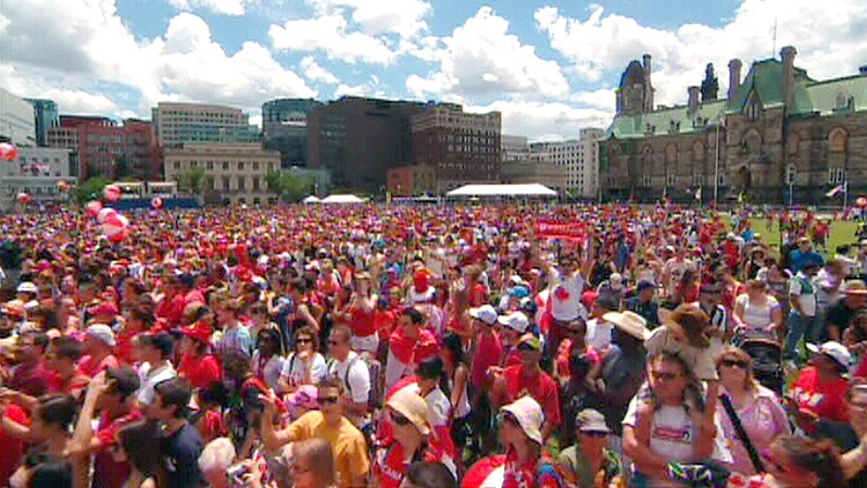 Thousands of Canadians are shown at the Canada Day celebrations on Parliament Hill in Ottawa on Sunday, July 1, 2012.