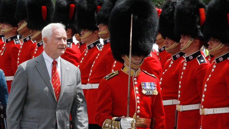 Governor General David Johnston inspects the Governor General's Honor Guard on Parliament Hill, as he takes part in the Canada Day celebrations in Ottawa, Sunday, July 1, 2012. (Fred Chartrand / THE CANADIAN PRESS)