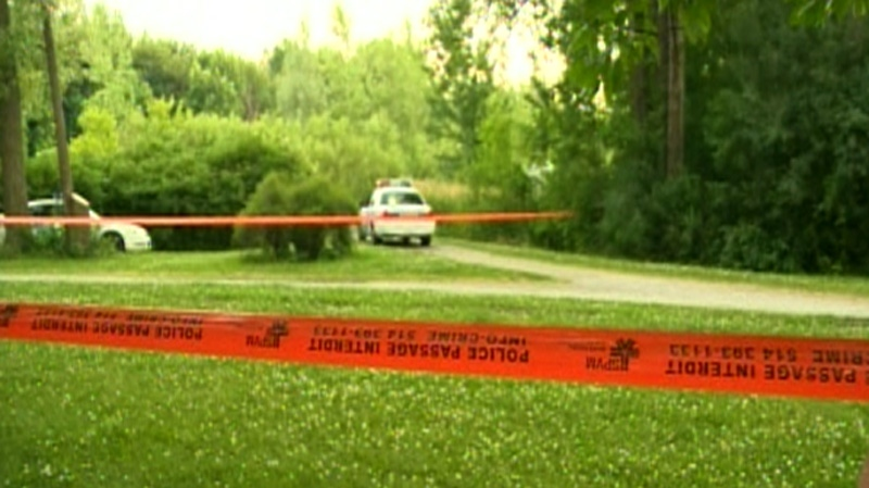 Montreal police are seen at Angrignon Park after a suspicious object was found on Sunday, July 1, 2012.