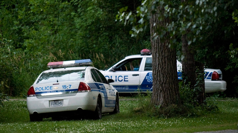 Police vehicles are shown at a Montreal park where they carried out a search on Sunday, July 1, 2012. A published report says Montreal police have found human remains linked to alleged killer Luka Rocco Magnotta. THE CANADIAN PRESS/Graham Hughes