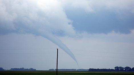 The tornado was sighted near the Roland, Carman and Myrtle areas on July 13, 2010. (photo courtesy Kaitlin Russell)