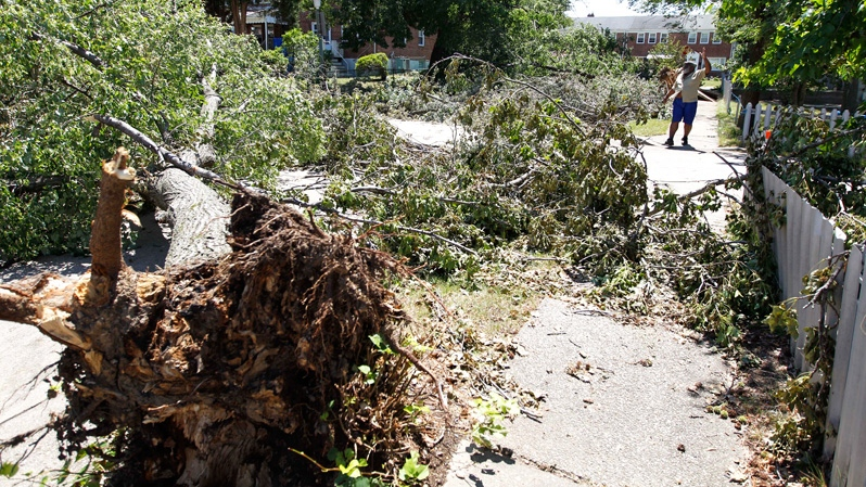 Kenrick Sholto waves to his neighbors as he walks next to a trees that is felled in the middle of Dunroming Street in the Northwood neighborhood of Baltimore on Monday, July 2, 2012. (AP / Jose Luis Magana)