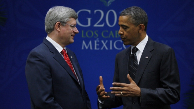 Prime Minister Stephen Harper meets with United States President Barack Obama