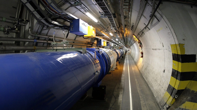 A view of the large hadron collider is seen in its tunnel at the European particle physics laboratory CERN near Geneva, Switzerland, May 31, 2007. (Keystone, Martial Trezzini)