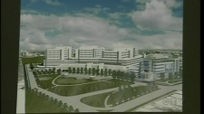 The Shriners presented this sketch of what the finished hospital will look like (July 15, 2010)