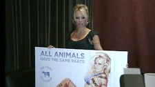 Pamela Anderson talks to the media about her new ad campaign (July 15, 2010)