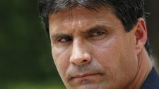 Jose Canseco is seen outside federal court in Washington, Thursday, June 3, 2010. (AP Photo/Susan Walsh)