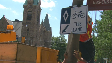 When completed, Jarvis St. will have bicycle lanes between Charles St. E. and Queen St. E.
