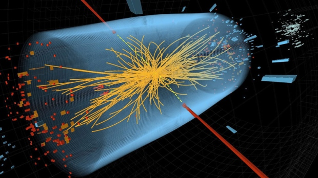 This CERN image depicts the collision of two high-energy photons in an electromagnetic calorimeter.