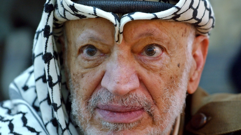 Late Palestinian leader Yasser Arafat is shown in this Oct. 2, 2004 file photo. (AP / Muhammed Muheisen)