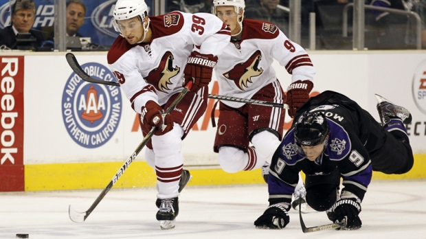 The Phoenix Coyotes' Brett MacLean, left, is seen in this Sept. 23, 2010 file photo.