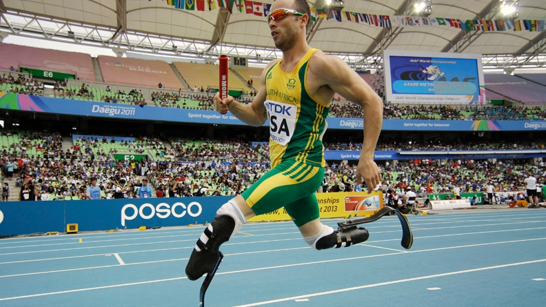 South Africa's Oscar Pistorius competes in a qualification round for the Men's 4x400m relay at the World Athletics Championships in Daegu, South Korea, in this Sept. 1, 2011 file photo. (AP / Matt Dunham)