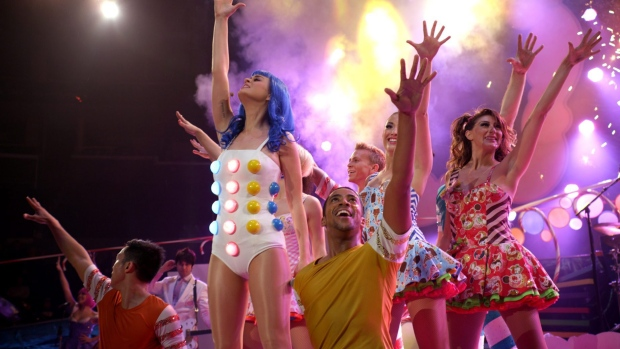 Katy Perry performing with dancers in a scene from Paramount Pictures Entertainment's 'Katy Perry: P