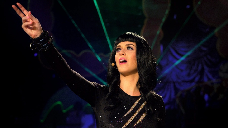 Katy Perry performing with dancers in a scene from Paramount Pictures Entertainment's 'Katy Perry: Part of Me.'