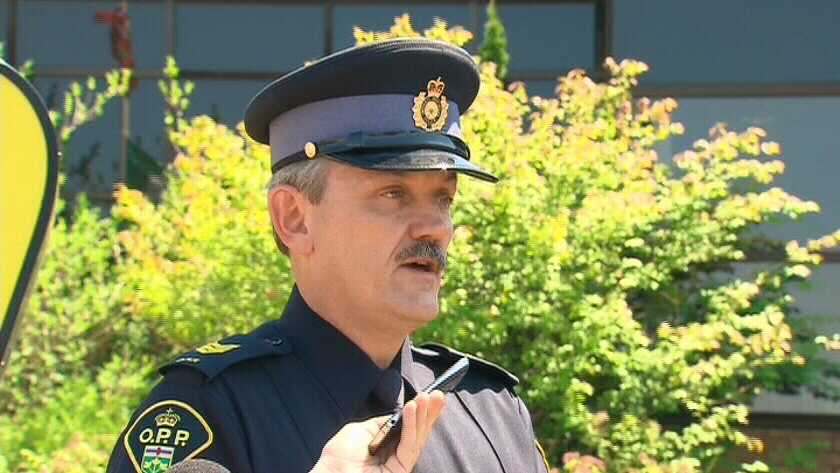 An Ontario Provincial Police officer speaks about the criminal investigation into the Elliot Lake mall collapse, Wednesday, July 4, 2012.