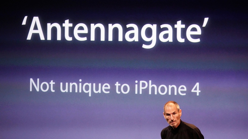 Apple CEO Steve Jobs talks about the Apple iPhone 4 at Apple headquarters in Cupertino, Calif., Friday, July 16, 2010. (AP / Paul Sakuma)