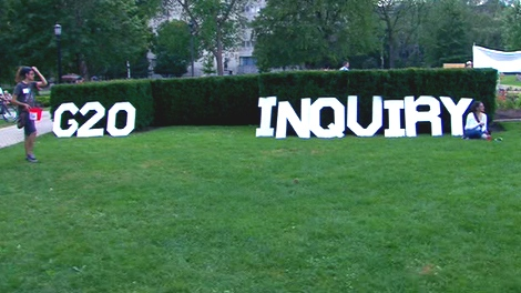 Protesters again descended on Queen's Park to call for an inquiry into the G20 riots. This sign was placed on the grass near the legislature on Saturday, July 17, 2010.