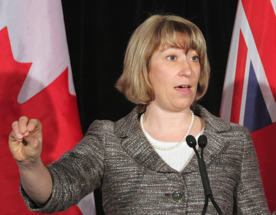 Ontario Education Minister Laurel Broten addresses a news conference in Toronto, Monday, April 9, 2012. With contracts expiring in August, Broten appealed to elementary school teachers to return to a provincial discussion table to help set the framework for negotiations. (Colin Perkel / THE CANADIAN PRESS)