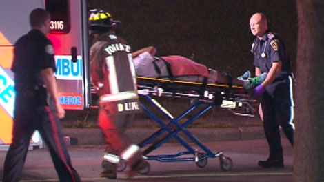 A 16-year-old boy has been critically injured after the car he was riding in failed to negotiate a turn, hit a curb and flipped. (Tom Podolec / CTV.ca)