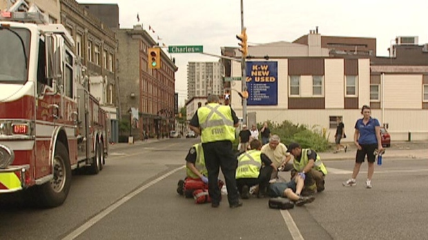 A pedestrian was taken to hospital after being struck in Kitchener, Ont. on Thursday, July 5, 2012.