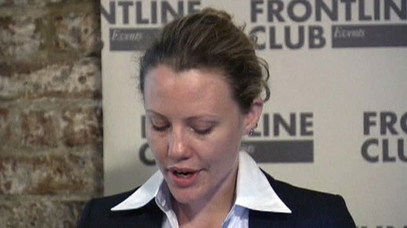 WikiLeaks' Sarah Harrison speaks to journalists at the Frontline Club in London, U.K., July 5, 2012.