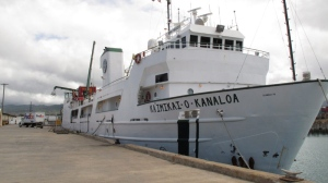 University of Hawaii ship Kaimikai-O-Kanaloa is anchored at harbor in Honolulu on Sunday, July 1, 2012. (AP / Oskar Garcia)