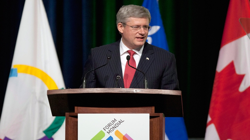 Prime Minister Stephen Harper speaks at the opening of the World French Language Forum in Quebec City, on Monday, July 2, 2012. (Jacques Boissinot / THE CANADIAN PRESS)