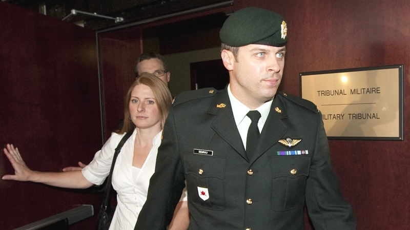 Capt. Robert Semrau leaves court with his wife Amelie Lapierre-Semrau following the verdict in his court martial in Gatineau. Que., on Monday July 19, 2010. (Sean Kilpatrick / THE CANADIAN PRESS)