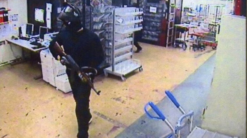 This CCTV image of Sept. 23, 2009 made available by Swedish Police July 19, 2010 shows one of several robbers inside the G4S cash depot in Stockholm, Sweden. (AP / Swedish Police)
