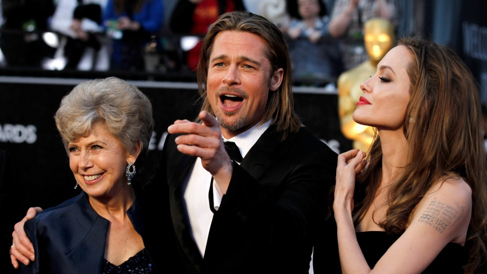 From left, Jane Pitt, Brad Pitt and Angelina Jolie arrive before the 84th Academy Awards on Sunday, Feb. 26, 2012, in the Hollywood section of Los Angeles. (AP / Matt Sayles)