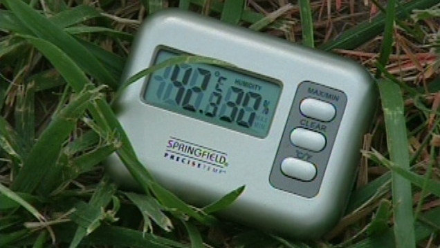 A thermometer shows the temperature in Cambridge, Ont. on Friday, July 6, 2012.