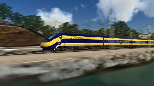 California High Speed Rail Authority rendering of a high-speed train in California.