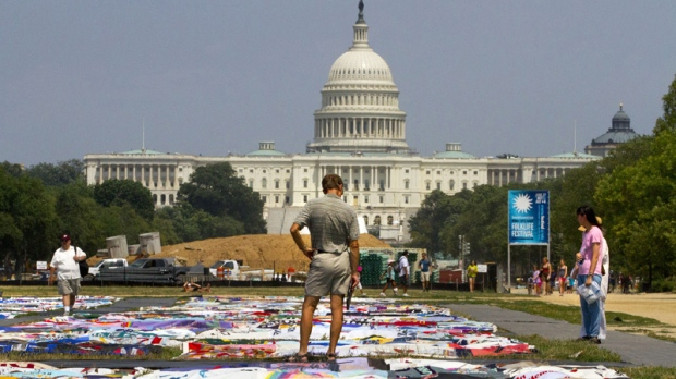 The AIDS Memorial Quilt displayed at the National Mall in Washington, on July 5, 2012.