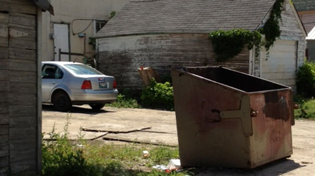Emergency services pulled a seriously injured man from this dumpster in the 500 block of Spence Street Saturday morning.