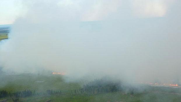 Smoky conditions in northern Alberta due to a wildfire burning near La Crete earlier in July. (Alberta ESRD)