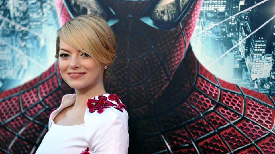 "Emma Stone attends the world premiere of ""The Amazing Spider-Man"" at the Regency Village Theatre on Thursday, June 28, 2012 in Los Angeles. (AP / John Shearer)"