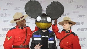 Deadmau5 poses on the red carpet at the Juno Awards in Ottawa, on Sunday April 1, 2012. (The Canadian Press/Sean Kilpatrick)