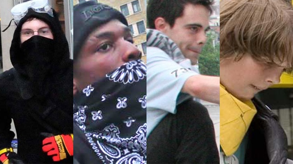 Four of the 21 suspects wanted by the Toronto Police Service in regards to damages caused during the G20 summit.