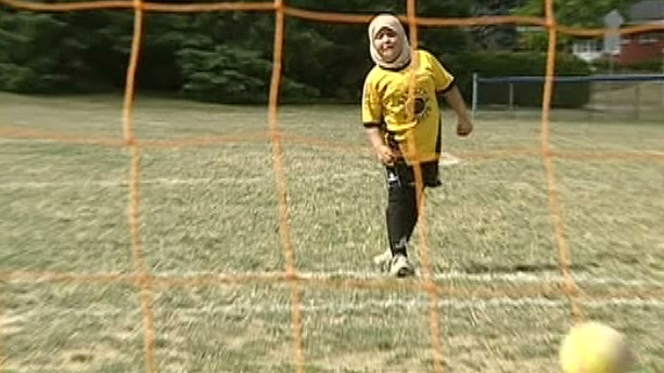 Rayane Benatti, 9, was banned from a soccer tournament in Quebec for wearing a hijab.