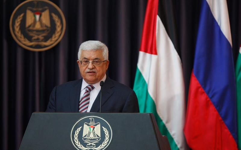 Palestinian President Mahmoud Abbas speaks during a media briefing with Russian President Vladimir Putin, not seen, following their meeting, in the West Bank town of Bethlehem, on Tuesday, June 26, 2012. (AP / Majdi Mohammed)