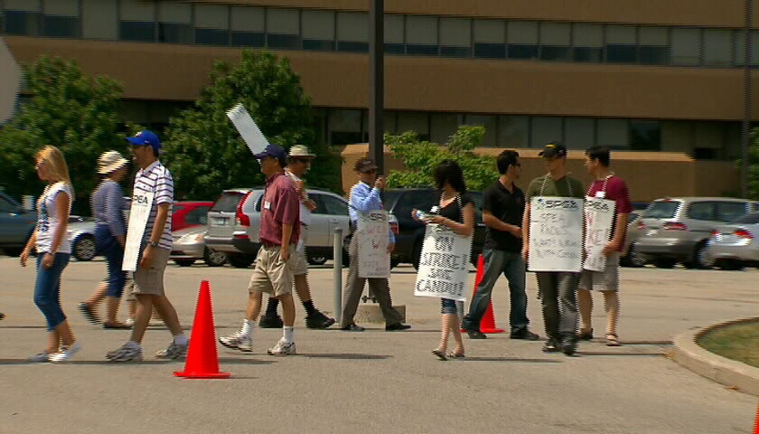 Candu Energy employees walk picket lines in Toronto, Ont., Monday, July 9, 2012.