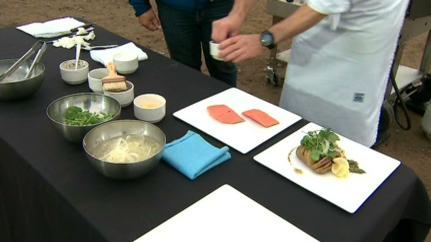 Executive chef Josef Szakacs shows Canada AM how to cook the catch of the day, Tuesday, July 10, 2012.