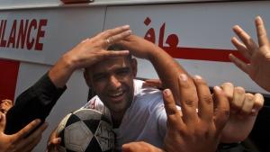 Palestinian soccer player Mahmoud Sarsak arrives at al-Shifa hospital in Gaza City